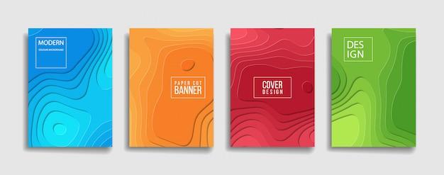 Bright color paper cut background cover Premium Vector