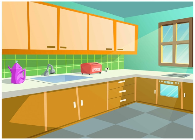 Bright color vector image of the kitchen in the house. Premium Vector