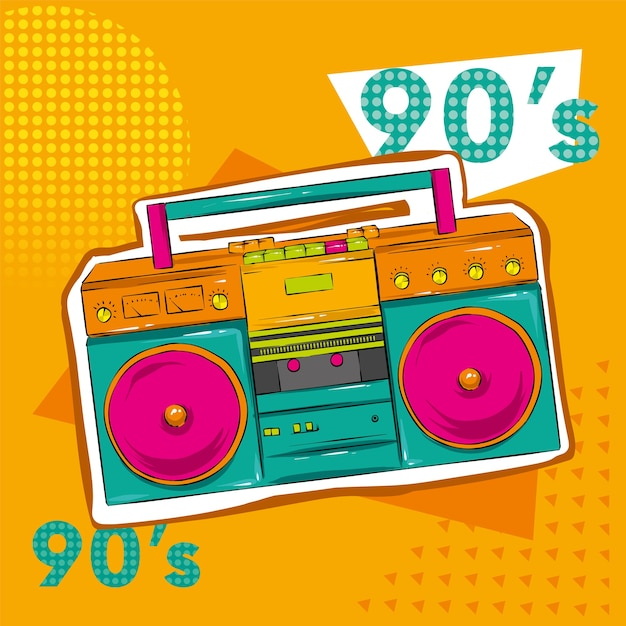 Bright colored poster in a zine culture style. vintage recording equipment, boombox. Premium Vector