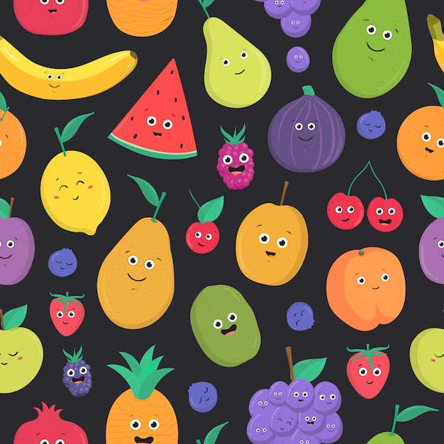 Bright colored seamless pattern with cute fresh exotic tropical fruits and berries with happy smiling faces on dark background. Premium Vector