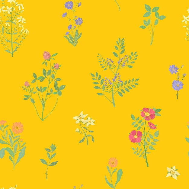 ゴージャスな野生の花が咲く明るい色のシームレスなパターン Premiumベクター