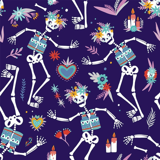 Bright colored seamless pattern with skeletons dancing Premium Vector