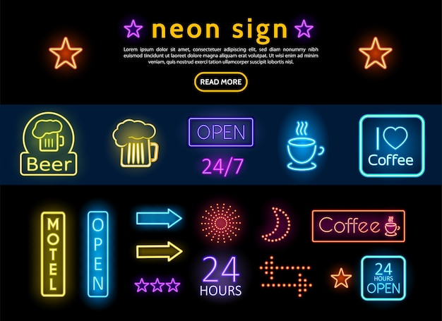 Bright colorful advertising neon signs set with beer glass coffee cup sun moon stars arrows Free Vector
