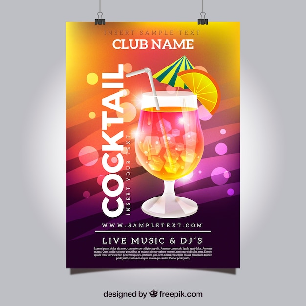 bright colorful cocktail party poster vector