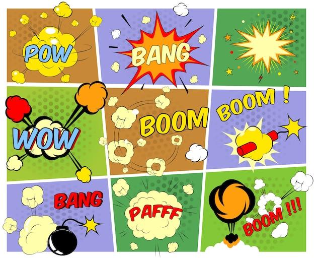 さまざまな音の爆発を描いた明るくカラフルな漫画の吹き出しは、モーションパフとスターバーストと燃える爆弾とダイナマイトでパウワウブームを強打します 無料ベクター