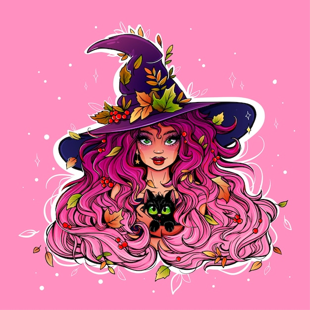 Bright and colorful drawing of a witch girl Premium Vector