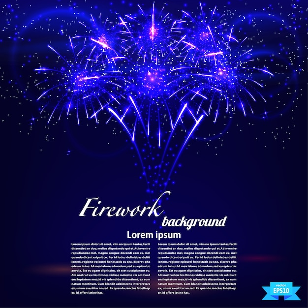 Bright colorful fireworks on a blue background template. holiday card. vector illustration Premium Vector
