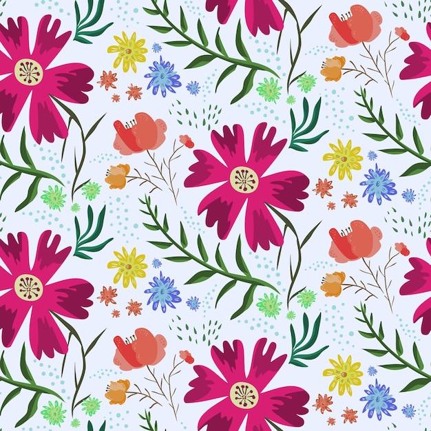 Яркие красочные цветочные летние бесшовные модели с акцентными розовыми цветами Premium векторы
