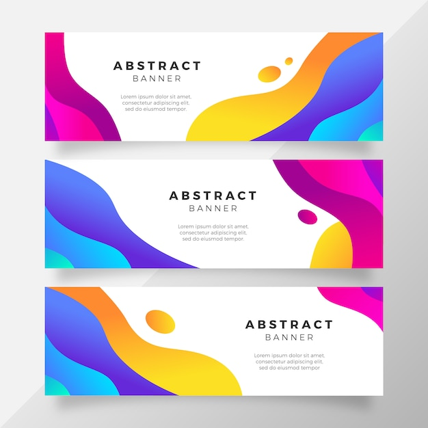 Bright colorful gradient banner with fluid shapes Free Vector