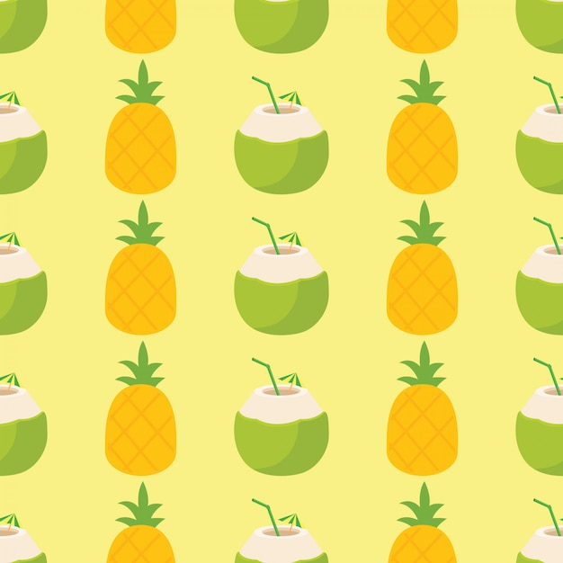 Bright and colorful pineapple and cocktail pattern Premium Vector