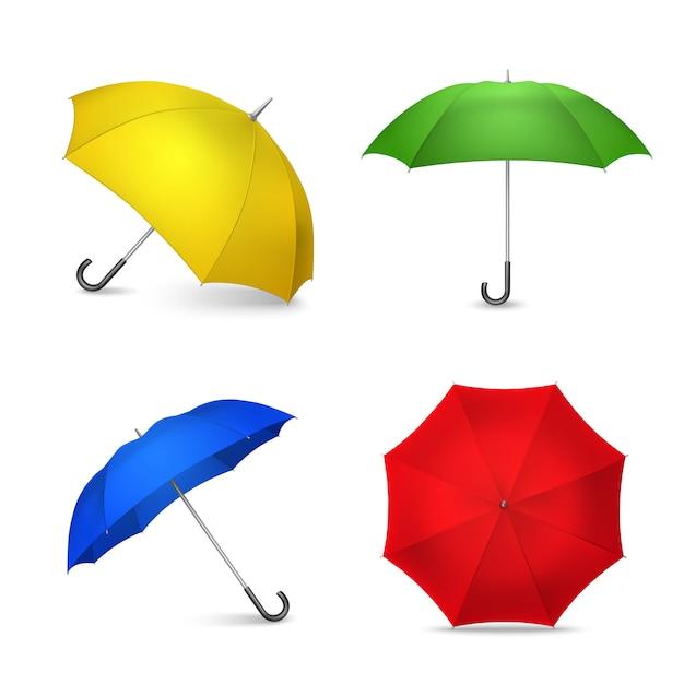 Bright colorful umbrellas 4 realistic images Free Vector