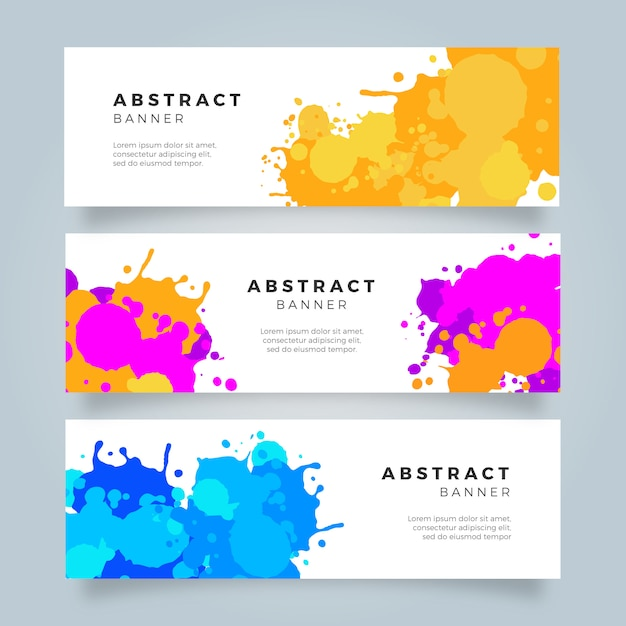Bright colorful watercolor slash banner collection Free Vector