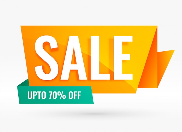 Bright creative origami style sale banner Free Vector