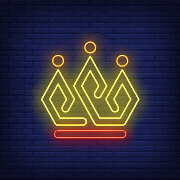 Bright crown neon sign Free Vector