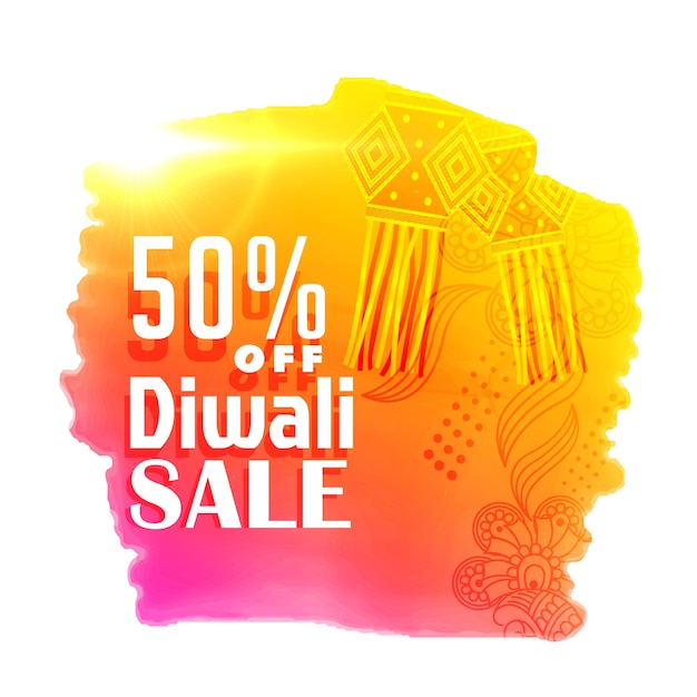 Bright Diwali Sale Poster Design With Hanging Lamps Free Vector