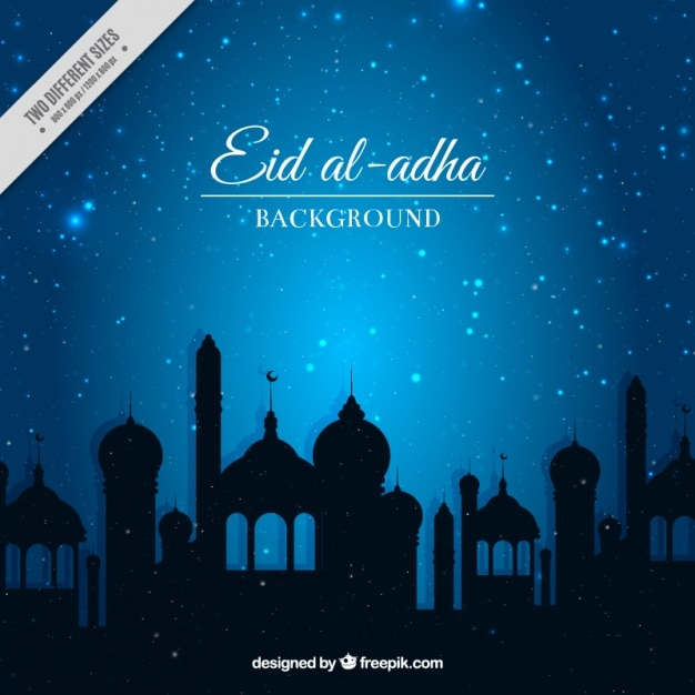 free vector bright eid al adha background in blue color bright eid al adha background in blue color
