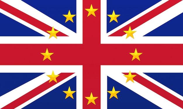 Яркий флаг соединенного королевства великобритании и северной ирландии с золотыми звездами европейского союза. Premium векторы