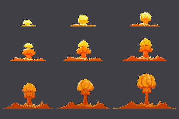 Яркий плоский набор анимации взрыва Бесплатные векторы