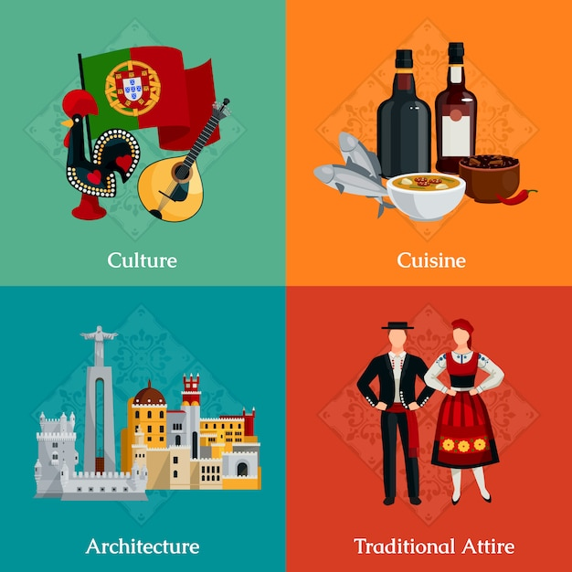 Bright flat icons set with traditional portugal attire cuisine Free Vector
