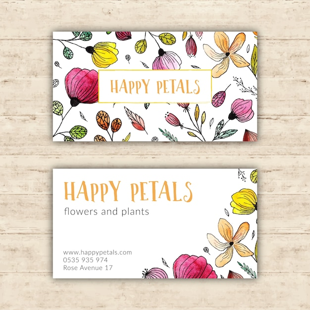 Bright Flower Shop Business Card Vector