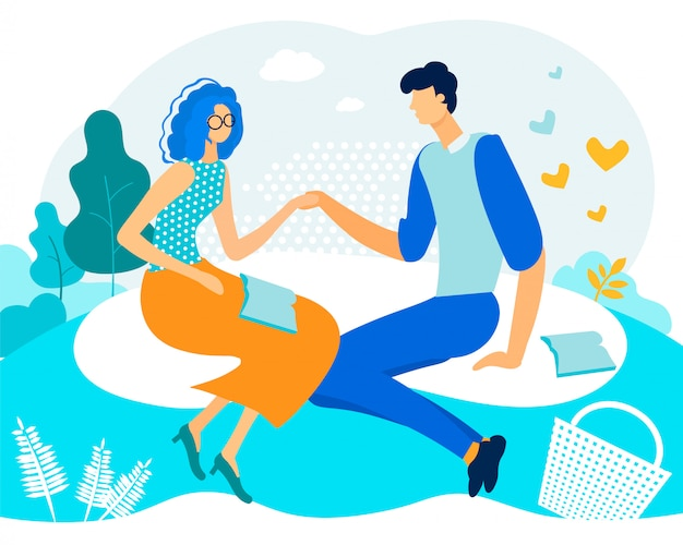 Bright flyer couple in love is reading poetry Premium Vector