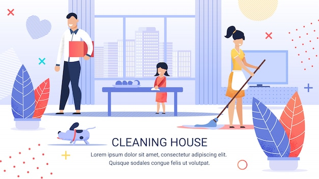 Bright flyer inscription cleaning house, cartoon. Premium Vector