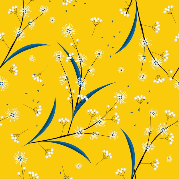 Bright and fresh seamless pattern in vector modern  minimal line and geometric flowers blowing in the wind design for fashion, fabric, web, wallpaper, and all prints Premium Vector