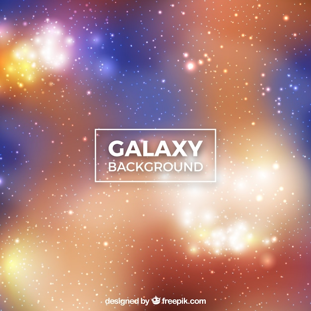 Bright galaxy background with blue and orange tones