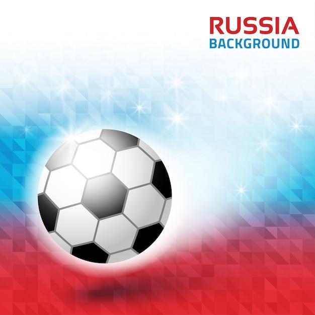 Bright geometric background. russia 2018 flag collors . soccer ball icon. Premium Vector