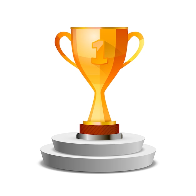 Bright glossy winner cup on pedestal, isolated on white Premium Vector
