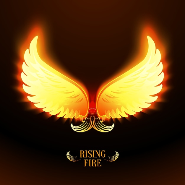 Bright glowing fire angel wings vector illustration Vector ...