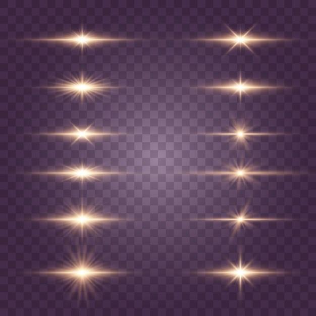明るい金色の閃光とまぶしさ。明るい光線。金色の光が分離 Premiumベクター