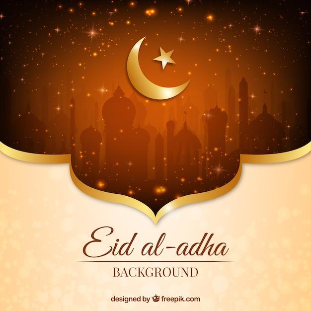 Bright Golden Background Of Eid Al-adha Vector