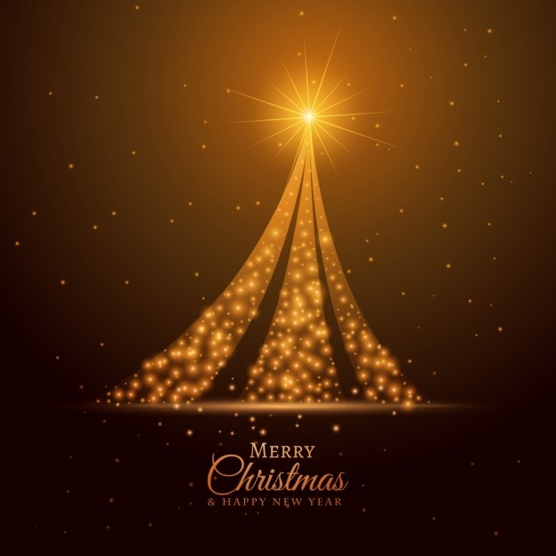Bright golden christmas tree background Free Vector