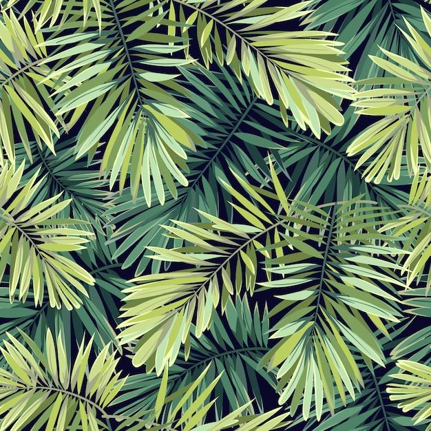 Ярко-зеленый фон с тропическими растениями. безшовная экзотическая картина с листьями ладони феникса. Premium векторы