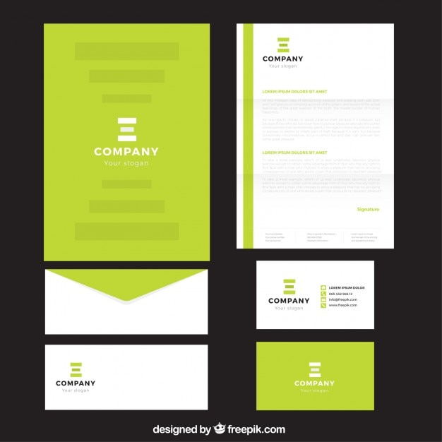 Bright Green Company Stationery Vector Free Download