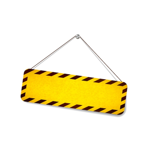 Bright grunge warning sign hanging on the rope on white Premium Vector