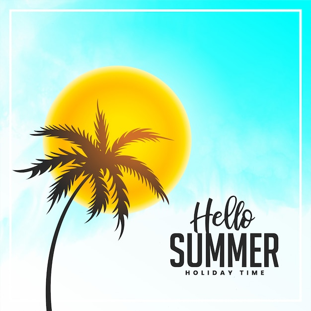 Bright hello summer palm tree and sun background Free Vector