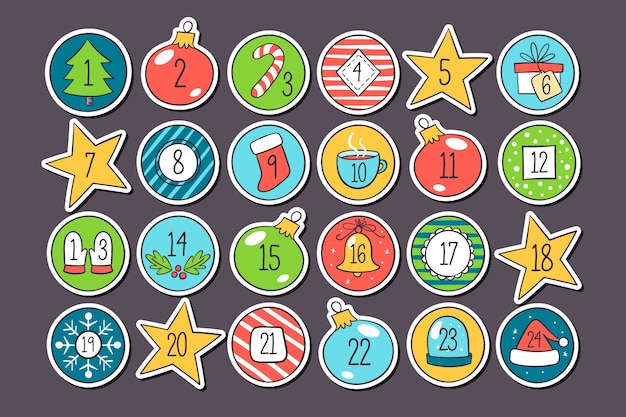 Bright holiday countdown calendar in flat design Free Vector