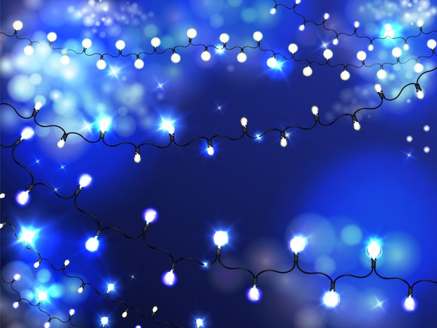 Bright holiday illumination garland background with lighted, shiny bulbs on string Free Vector