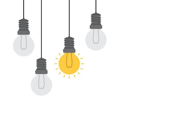 Bright idea and insight concept with light bulb. Premium Vector