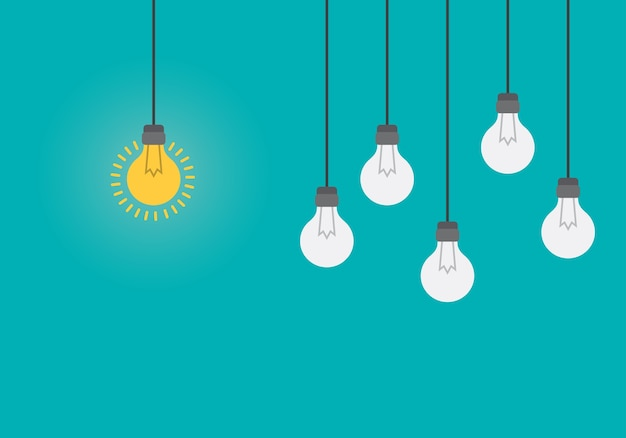 Bright idea and insight concept with light bulb. Premium Vector