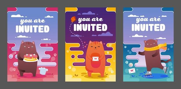 Inviti luminosi design con gatti carino illustrazione vettoriale set. gattino divertente che pattina, cucina e in piedi. mascotte e concetto di celebrazione Vettore gratuito