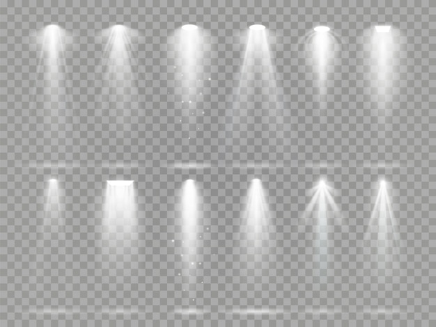 Bright lighting projector beams on theater stage. Premium Vector