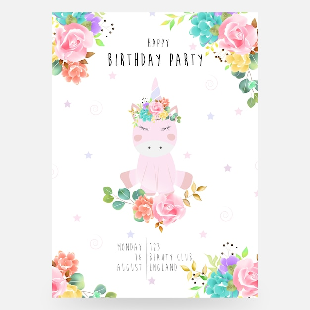 Bright lovely cute fairy magical colorful unicorn with eyelashes in the beautiful flower crown watercolor Premium Vector
