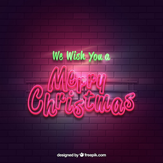 Bright merry christmas poster background with neon lights Free Vector
