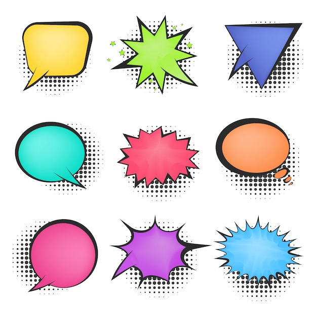 Bright mesh color retro comic speech bubbles Premium Vector