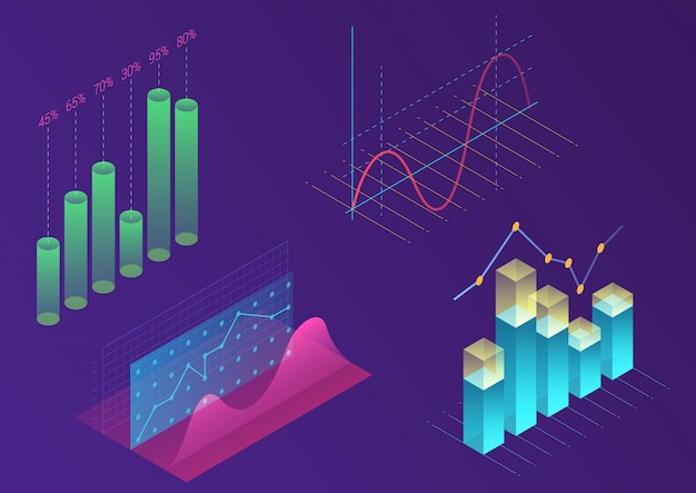 Bright modern gradient color infographic vector elements. 3d isometric design for promotion, presentation, sales banner, income report design, stylish website Premium Vector