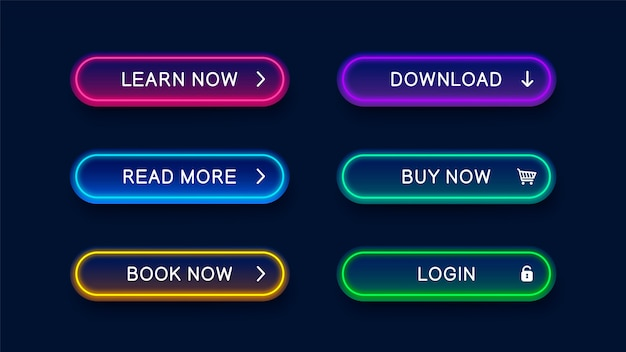 Bright modern neon abstract buttons for website. Premium Vector