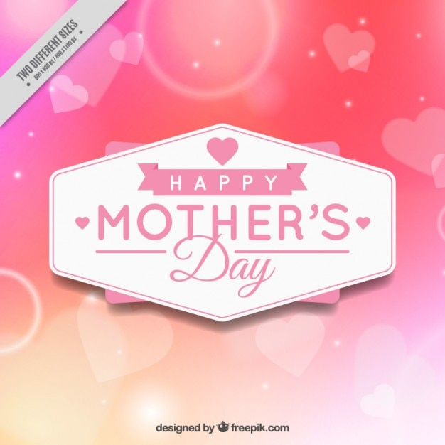 Bright mother\'s day background with\ hearts